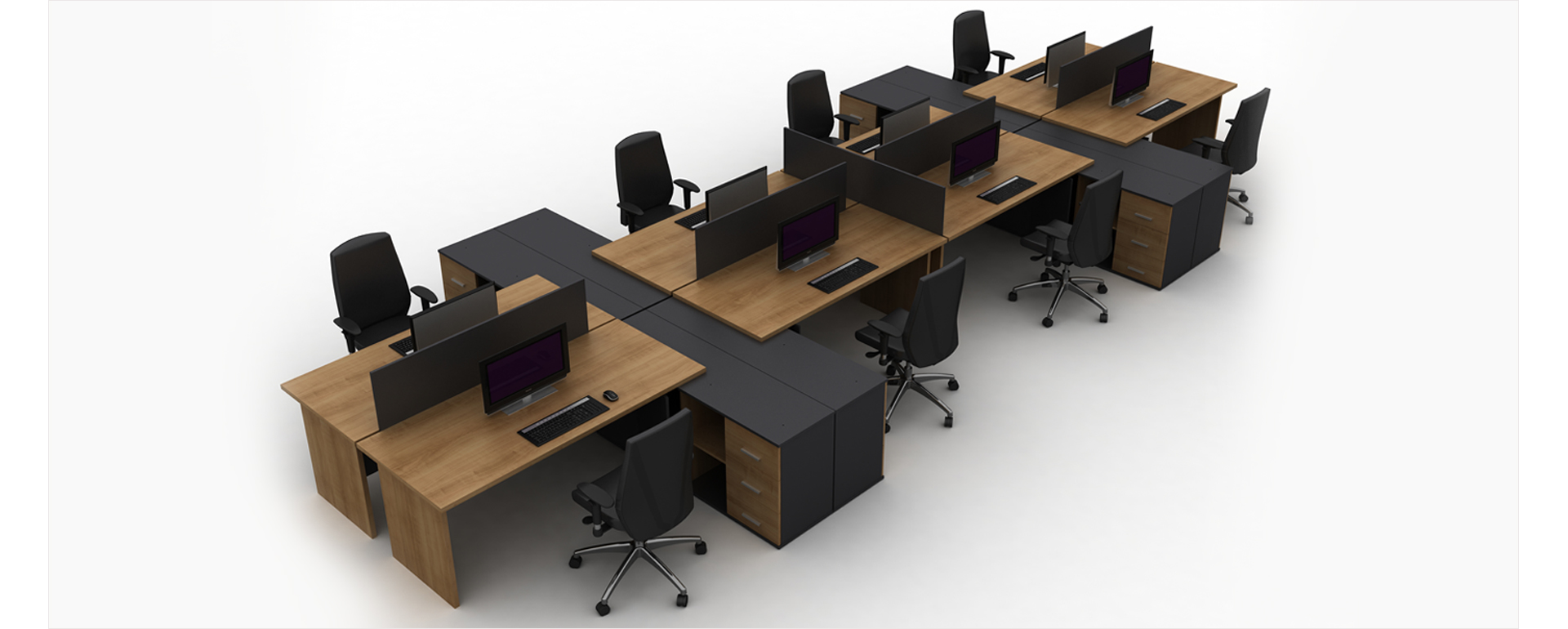 Wooden Office Workstation And Partitions Design Set
