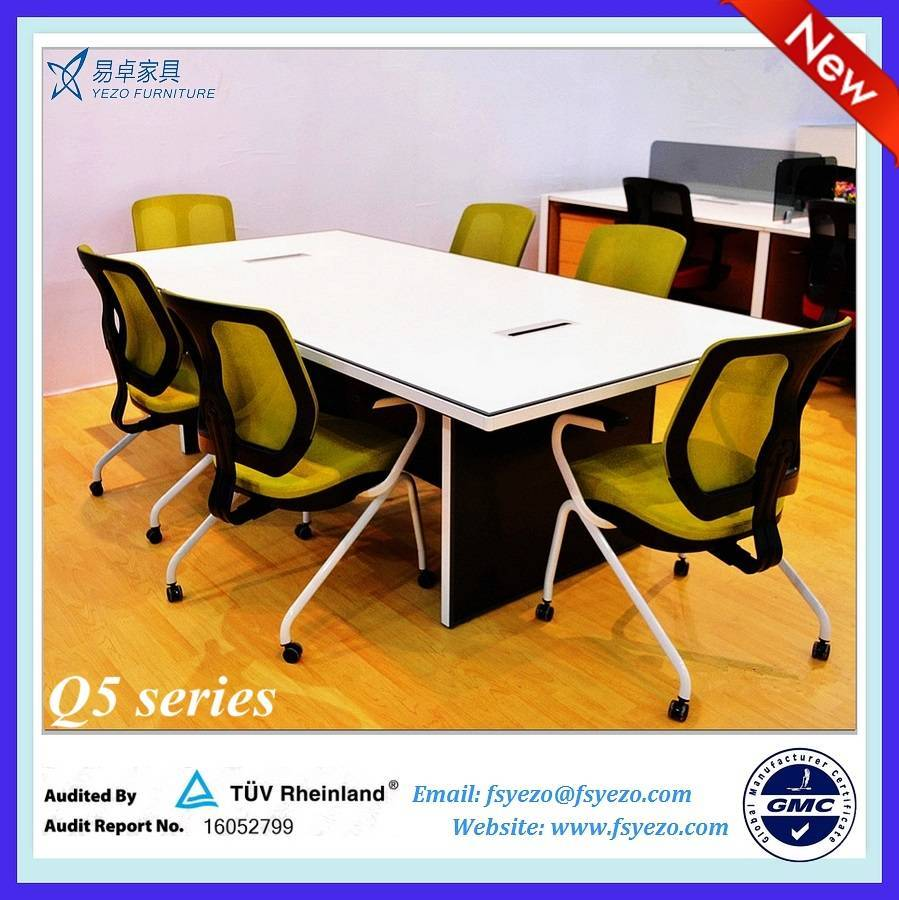 Melamine Rectangular conference table / 10 person conference table with aluminum frame