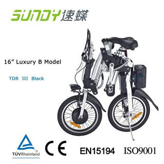 16 Shimano Gear Folding Electric Bicycle-Black