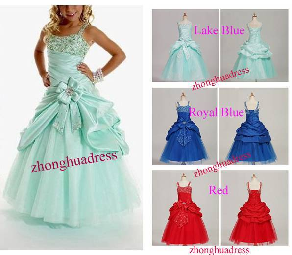 2014 Hot Sell New Stock Lake Blue/Royal Blue/Red Satin Taffeta Tulle Pleat Beading Flower Girl Dress