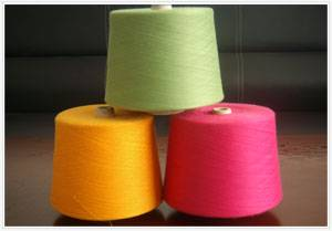 variety of colors dope dyed polyester spun yarn32S/1,close virgin