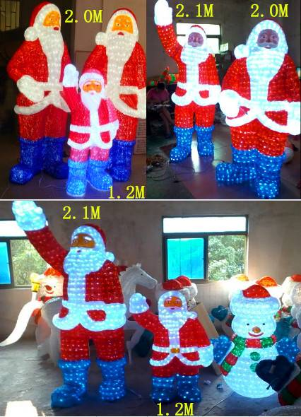 H:2.1m W:1.3m simulation lighted Santa Claus for Christmas holiday decoration/led 3d Father Christma