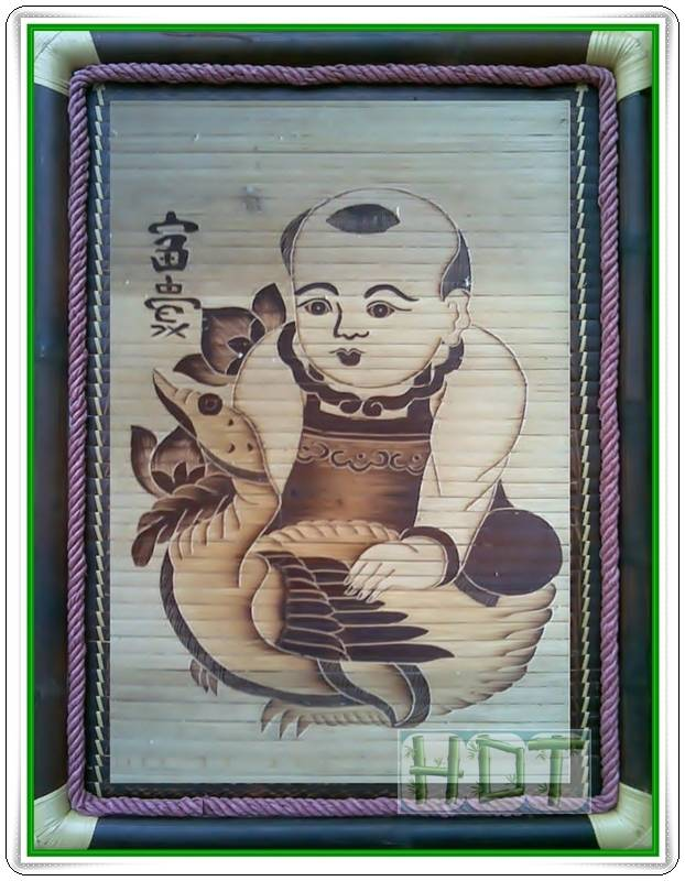 Shaving Smoked Bamboo Painting Portraits (The Boy hug the Duck Artwork)_ This Is Not Painted
