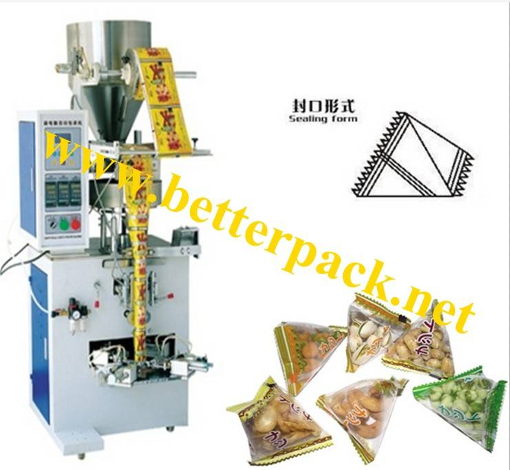 automatic snacks food nuts pyramid plastic pouch making packaging machinery