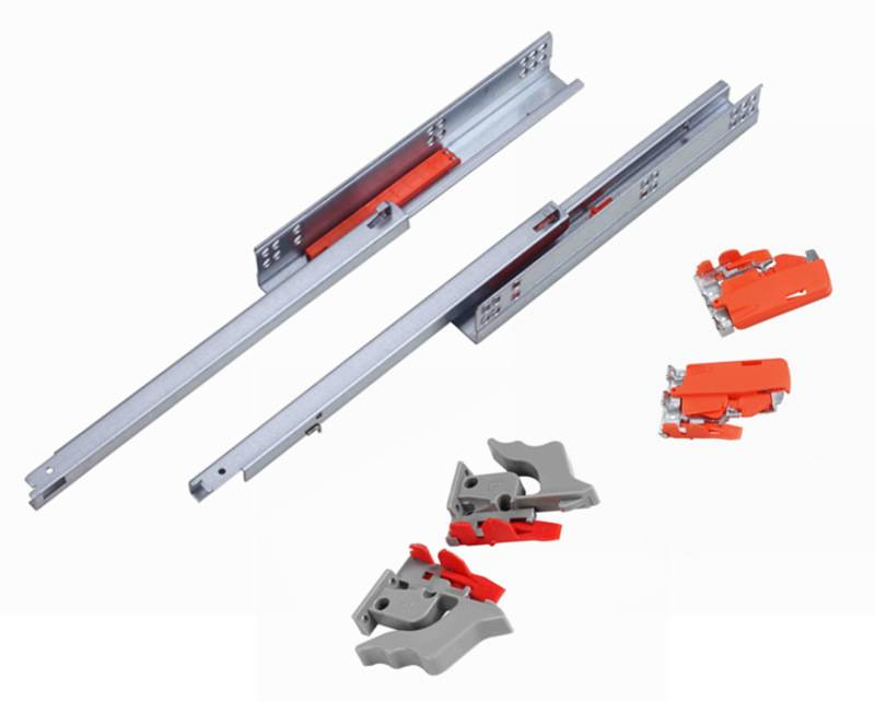 single extension undermount drawer slides with push open with clips