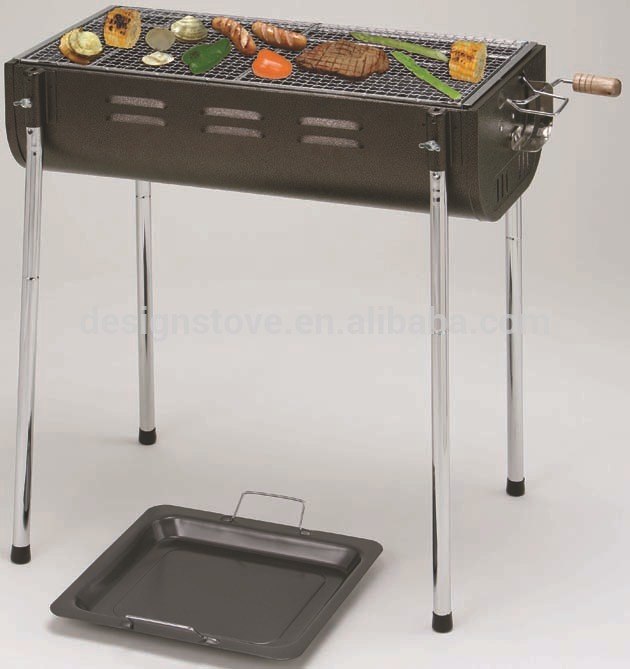 Adjustable cooking grade half oil-drum charcoal bbq grill