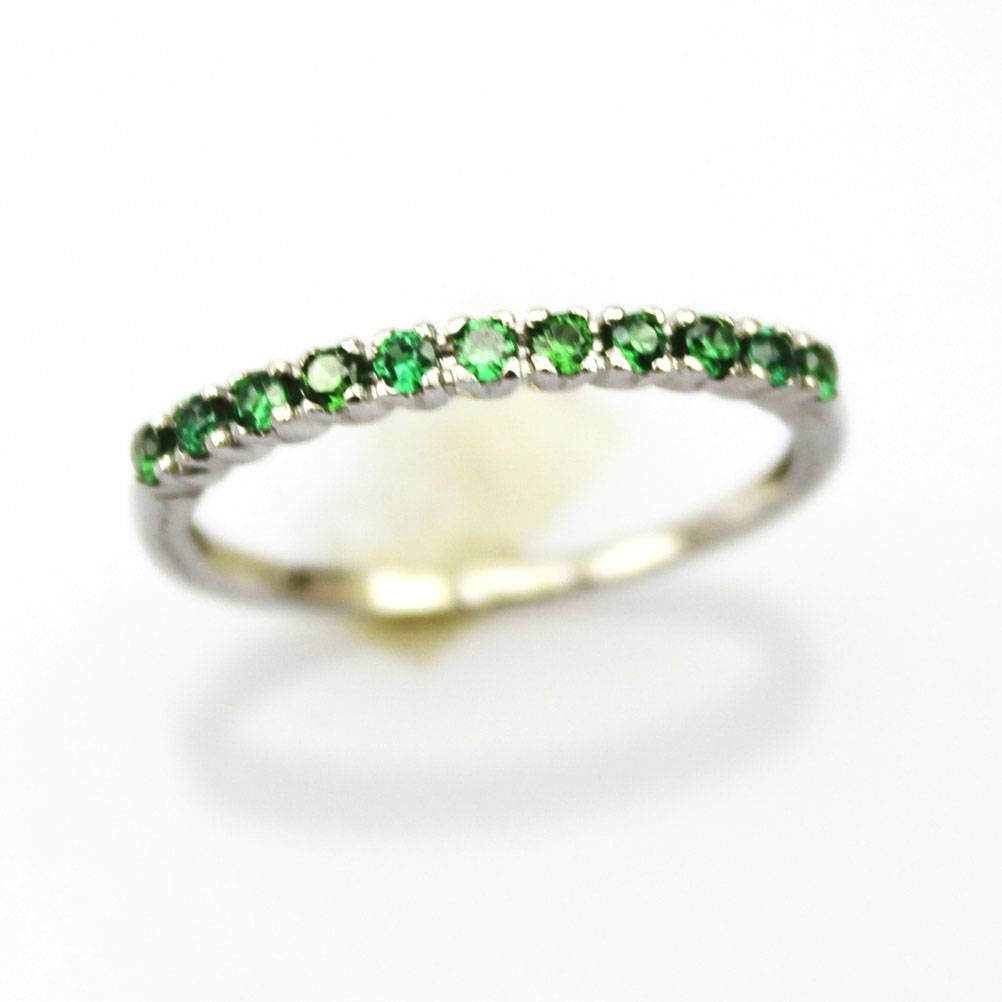 Sterling Silver Jewelry Green Cubic Zircon Ring (FR0164)