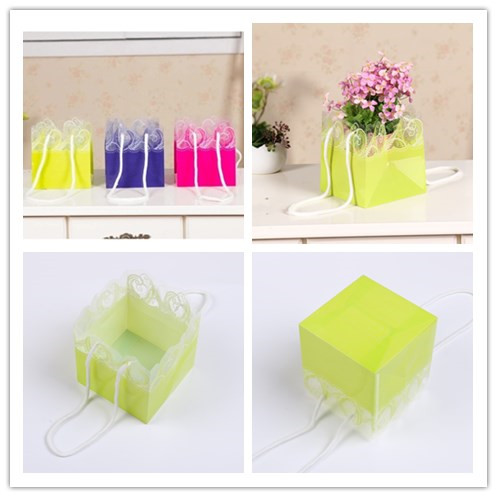 Promotional Printed Flower Packaging Flower Wrapping Carrying Clear Transparent PP Gift Shopping Bag