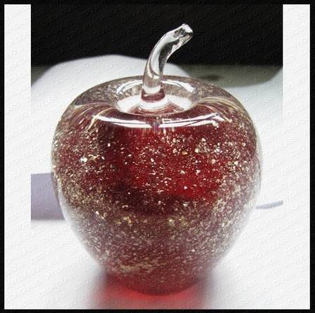 Handmade Glass Apple Paperweight Gift