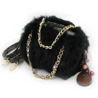 Rabbit Fur Handbag With Chain