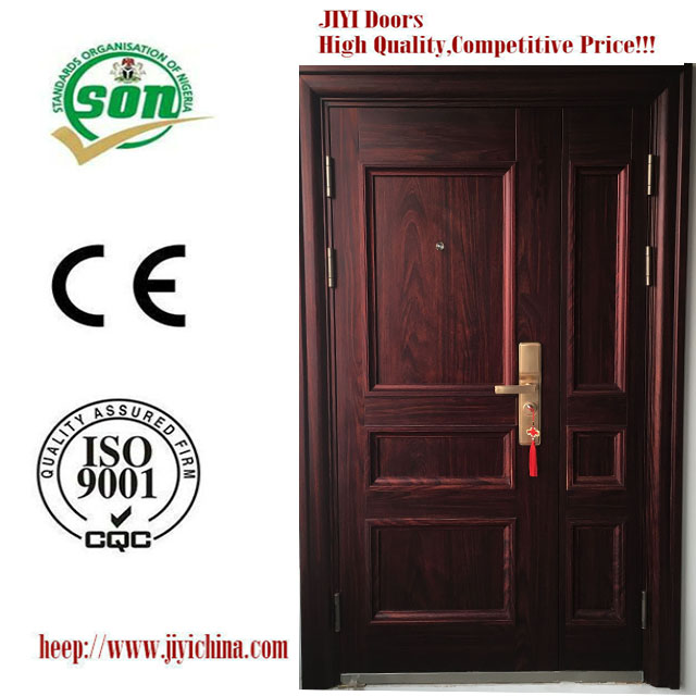 NEW SONCAP ISO9001CE Cheapest Black Walnut Grain Steel Security Door