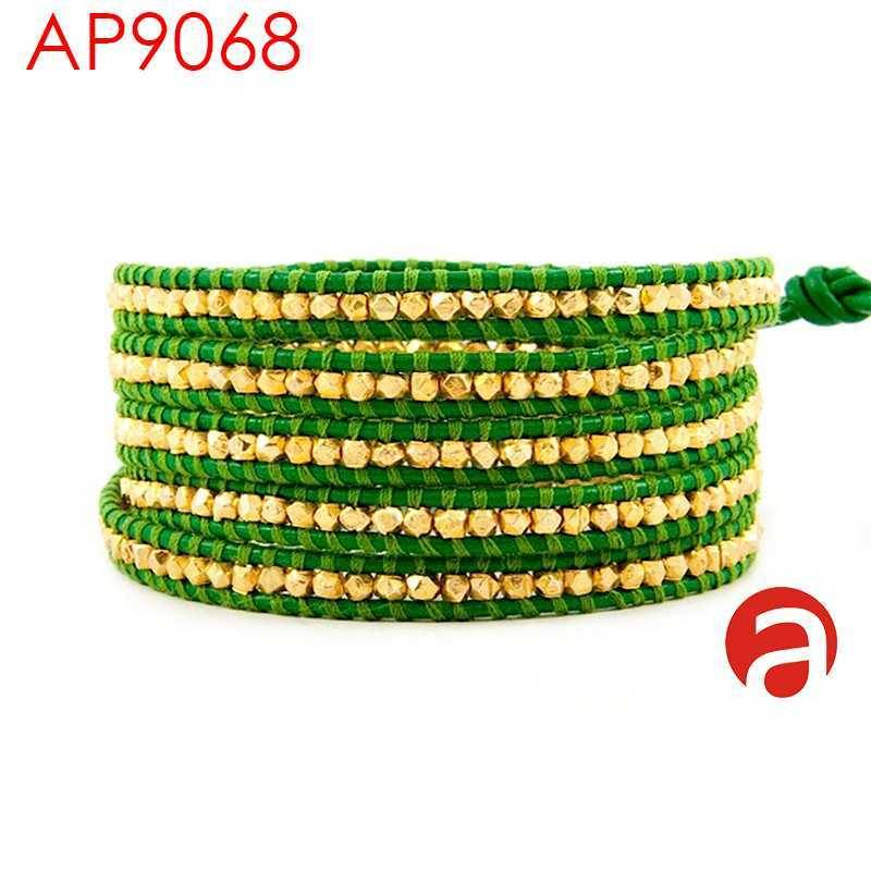 GOLD VERMEIL WRAP BRACELET ON APPLE GREEN LEATHER