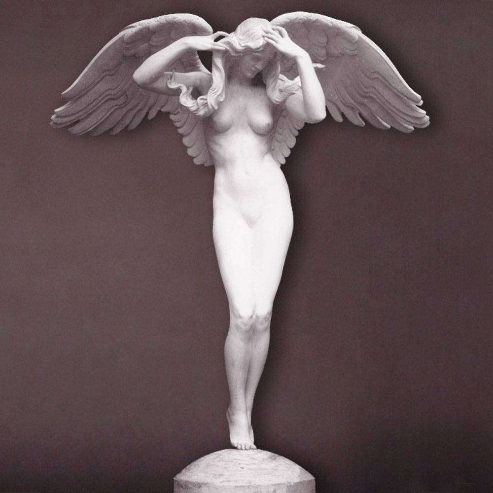 China pure white exquisite hand carved white marble nude lady statue and angle statue