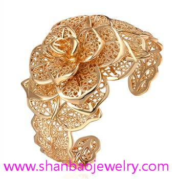 Gold Plated Zircon Jewelry Girls Women Ladies Woman Flower Party Zircon Bangles