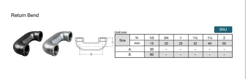 China Malleable iron pipe fitting Return Bend-90U with high quality and proper price