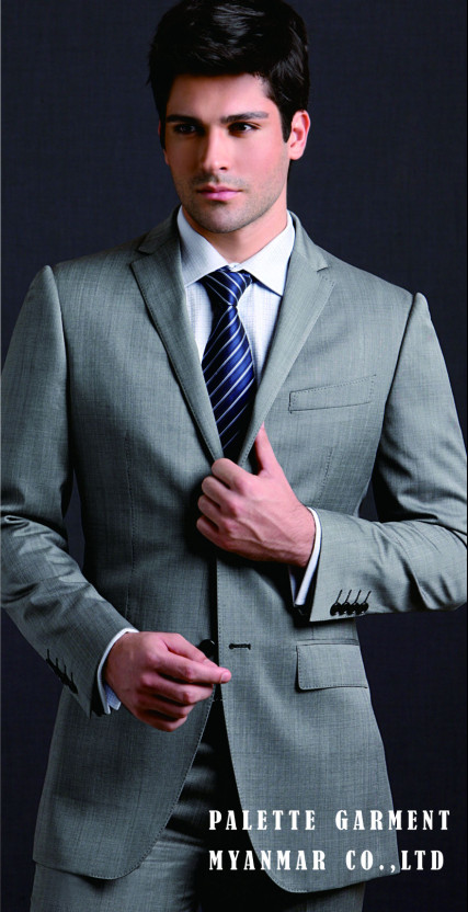 New style men slim fit suit 70% wool two buttons black Italian fabric suit