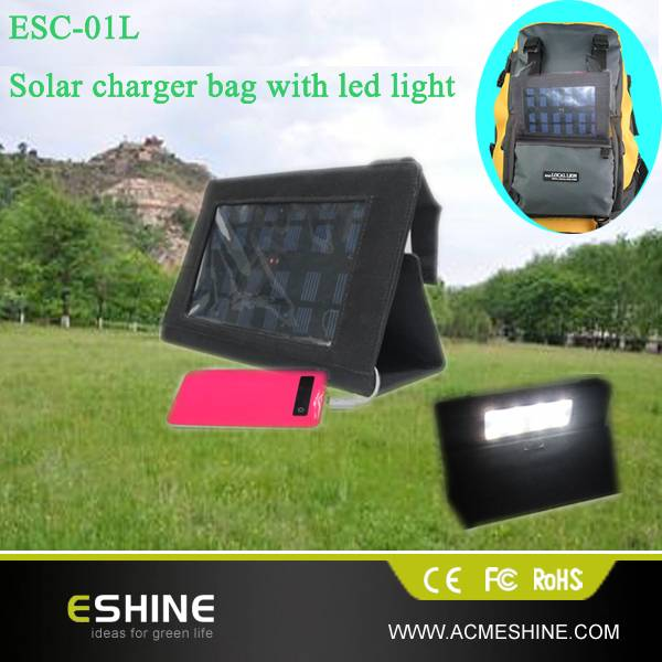 ESC-01L solar charger with led light , solar camping light