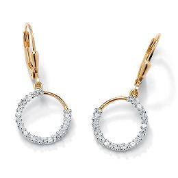 18k Gold over Sterling Silver Diamond Accent Earrings,fine jewelry
