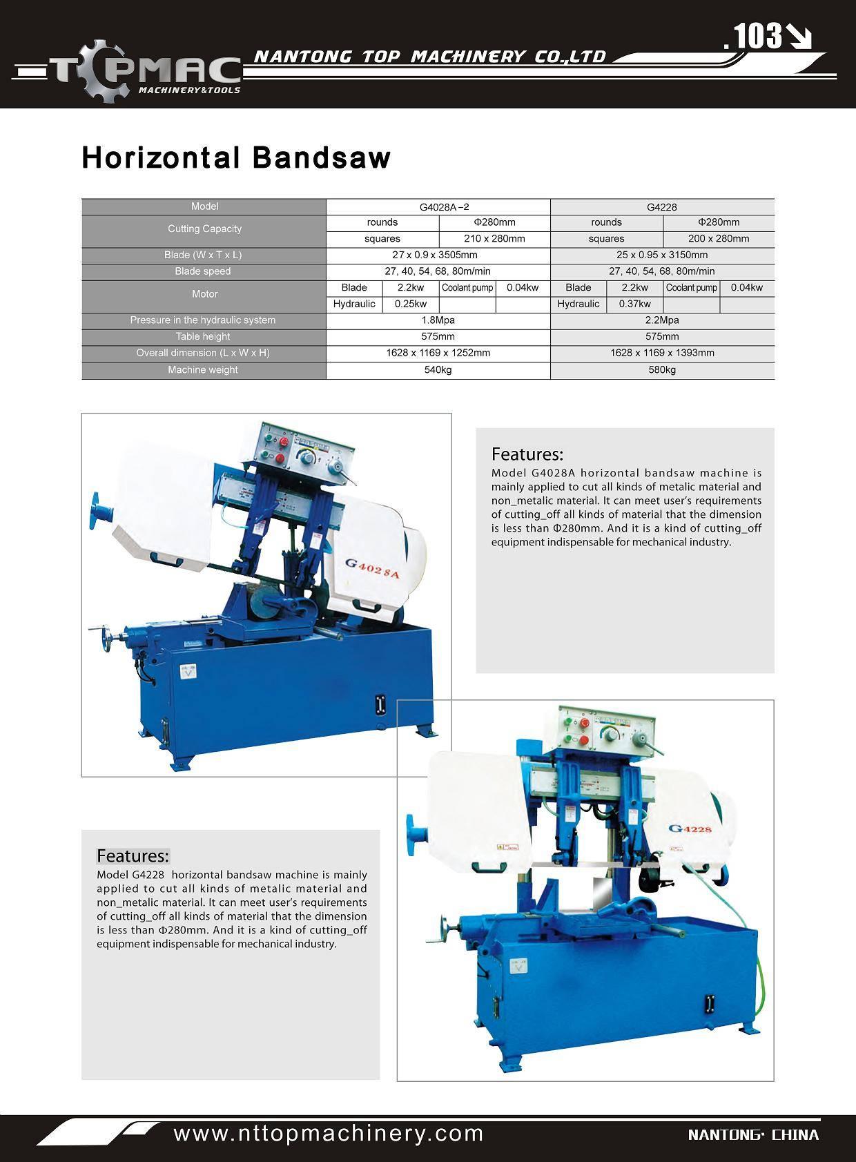 Horizontal Bandsaw Machine