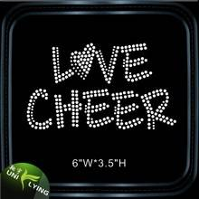 Letter love cheer rhinestone t-shirt motif wholesale