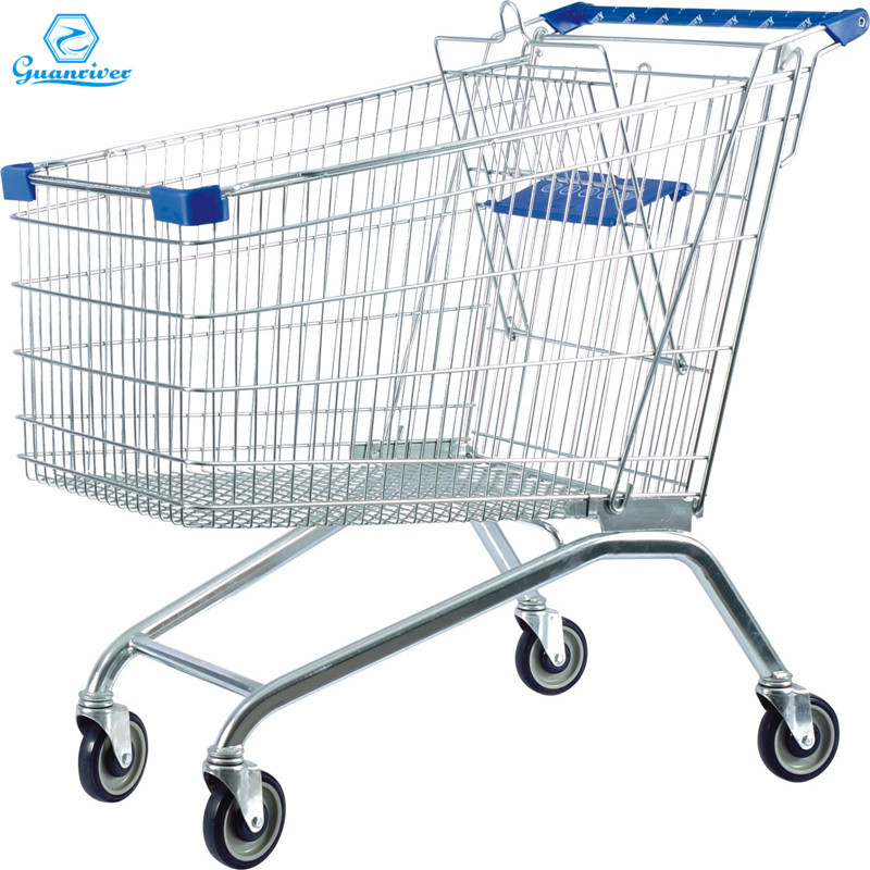 Zinc Plated European shopping trolley supermarket trolleys 150L