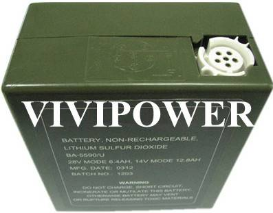 Millatary battery ba-5590//u lithium sulfur dioxide non rechargeable