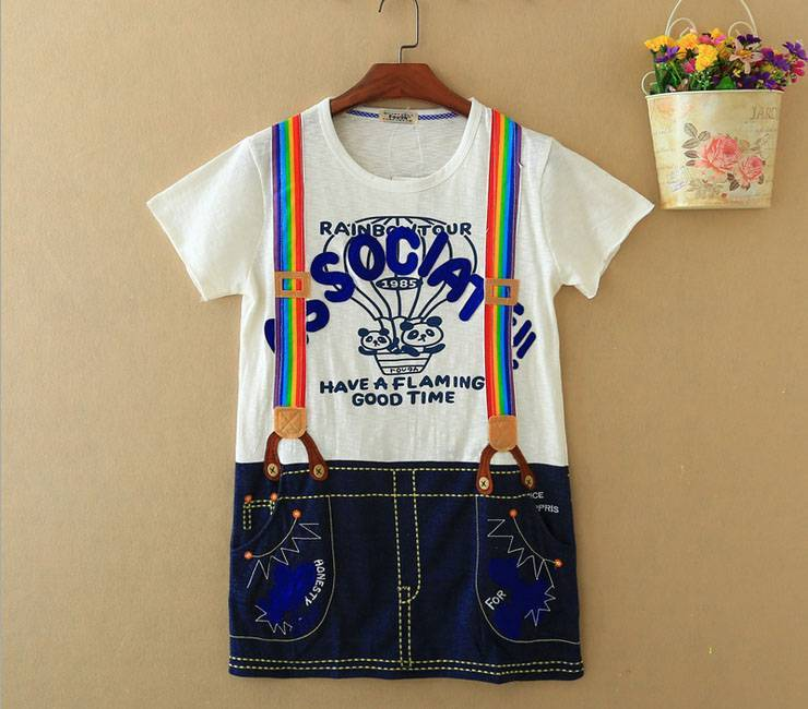 2015 New Lady Jeans Overalls Short SleeveT-Shirt