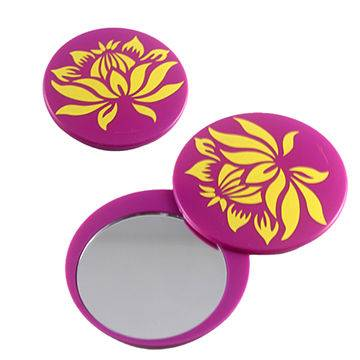 Single side plastic pocket mirror in round shape for Valentines' Day promotion with flower pattern