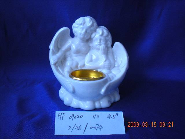 Porcelain Angel figurine with candleholder