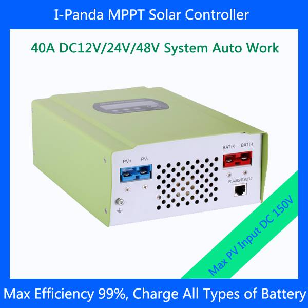 150VDC PV input 40A mppt solar charge controller with LED display 12V/24V/48V auto Battery Charger r