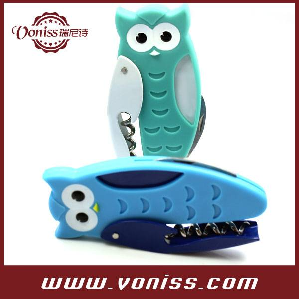 Fun owl Shape Stainless Steel Features Corkscrew, Foil Cutter and Bottle Opener