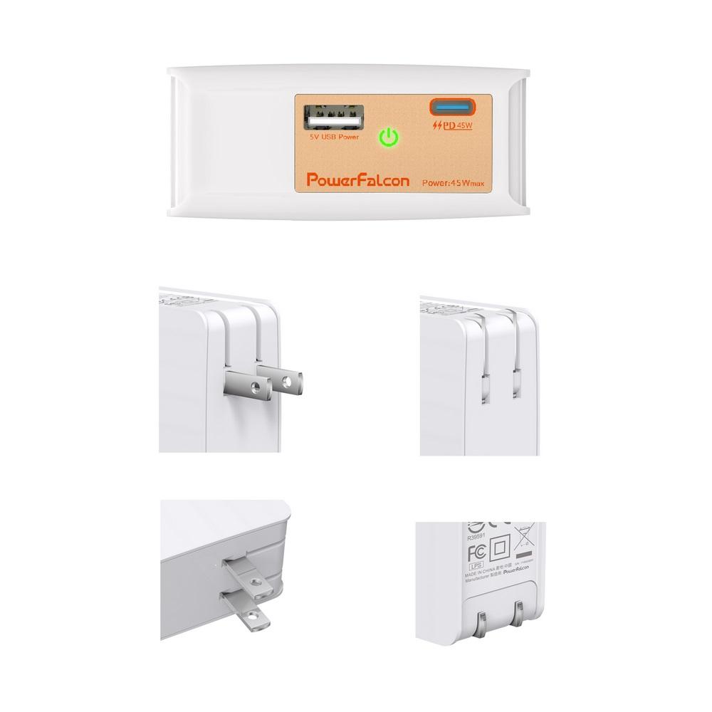 PowerFalcon 45W PD dual port (USB-C+USB-A) charger / foldable