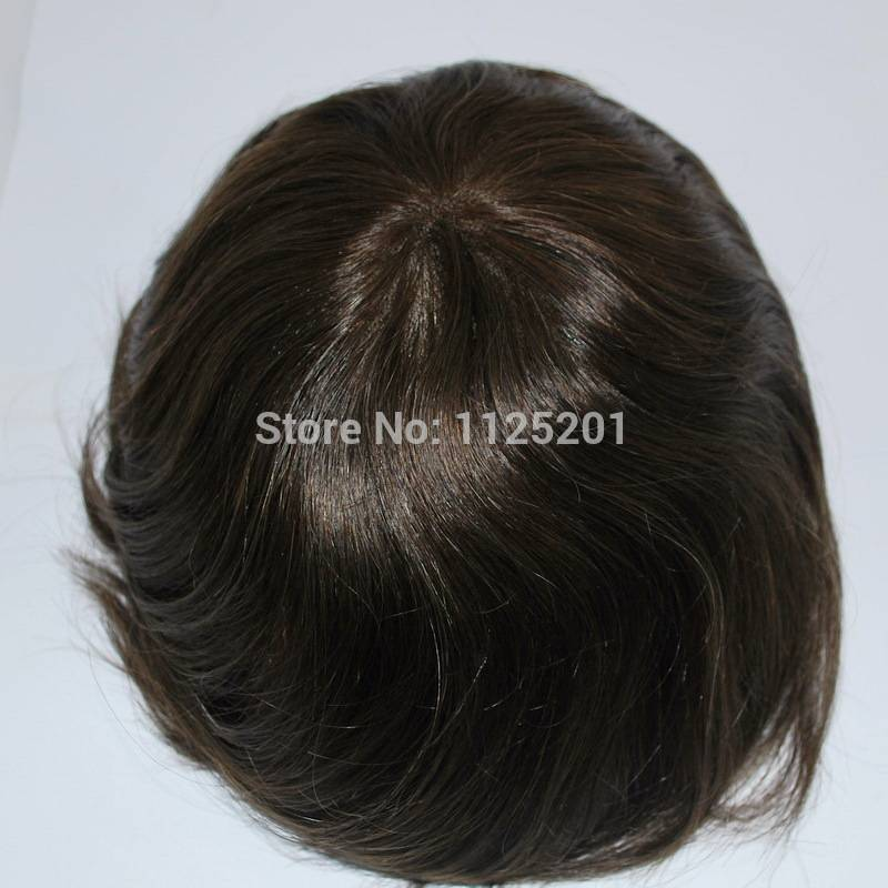 stock mens toupee Hair replacement French lace PU all around Base size adjustable #3 dark brown