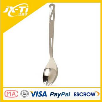 straight handle titanium spork with spring
