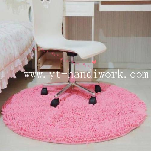 pink washable microfiber chenille rug for home decor