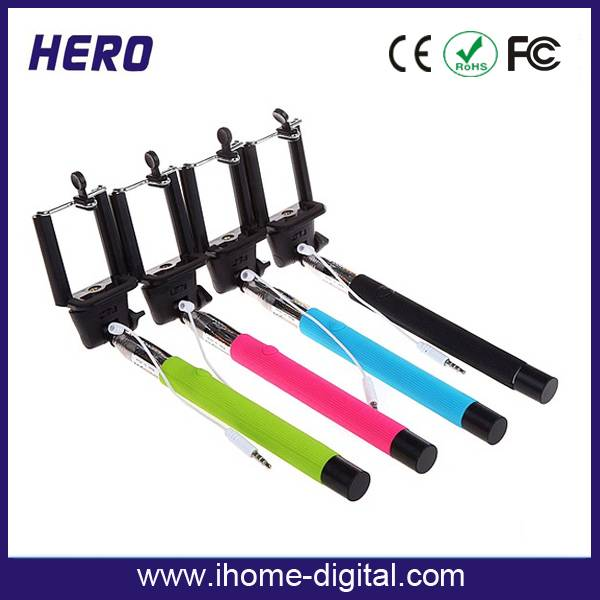 Hot new products monopod selfie stick for iphone,cable take pole monopod