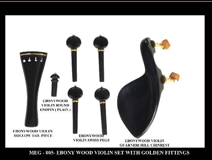 Ebony Violin Set with Golden fittings.