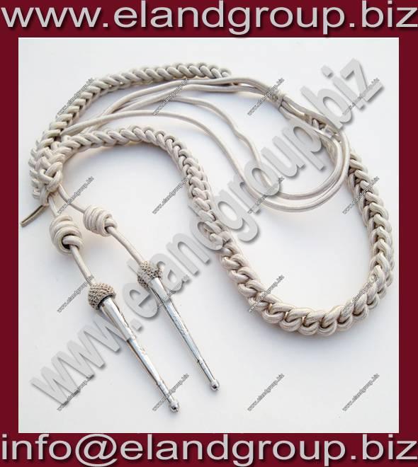 Military uniform Silver Bullion Wire Aiguillette