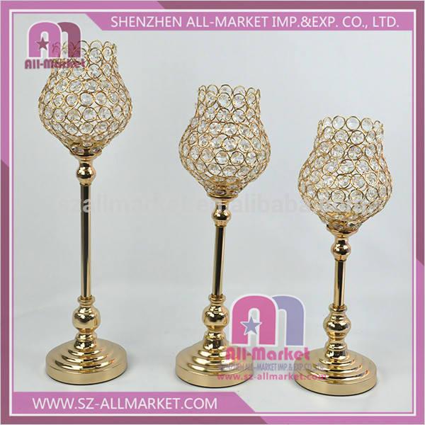 ZSG17511 Wedding Decoration Gold Plate Goblet Tea Light Holder