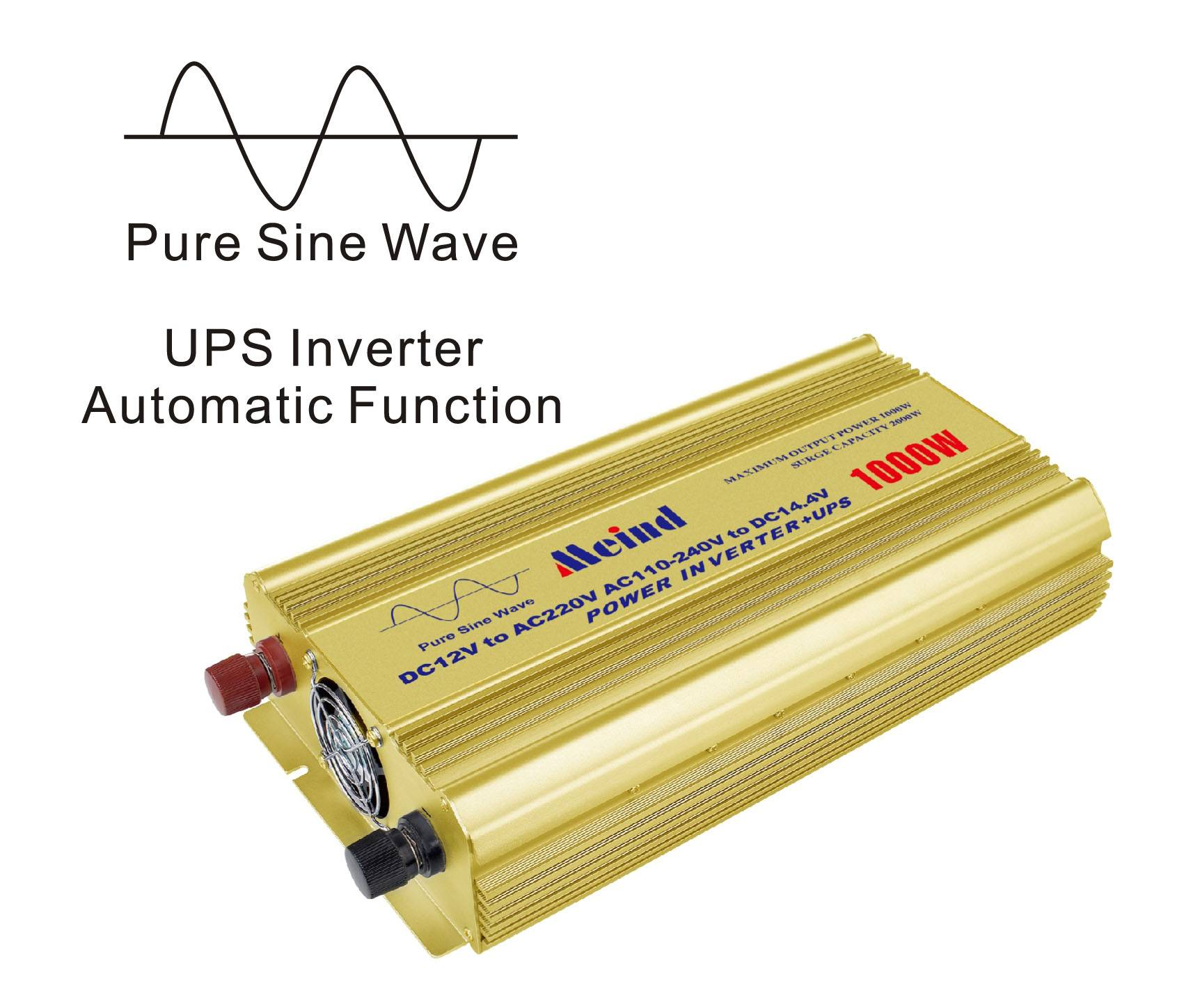 Meind 1000W Pure Sine Wave Inverter with UPS for home,car,solar off grid power system,travel,camping