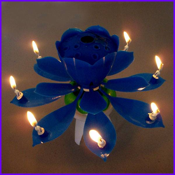 Blooming Flower Open Mouth Singing Rotating Birthday Candle