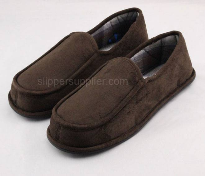 Mens microsuede check stitch and through slippers