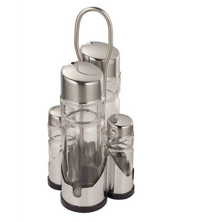 sell Four-Piece Glass Condiment Set with Holder FYCD-20