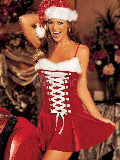 2013 Sexy Newly Wonderful Red Velvet Christmas Costume Dress Hat