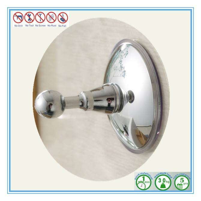 Chromed Finish Bathroom Hanger with Silicone Rubber Suction Cup for Household