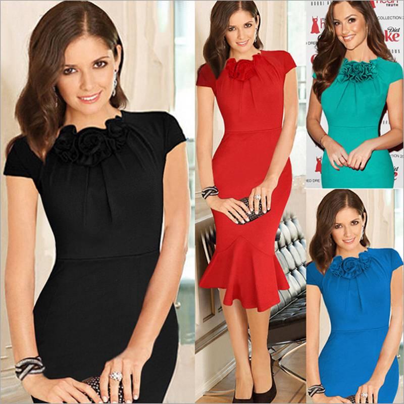 2015 New Fashion Fishtail Dress Flower Decorating Collar Sexy Slim Women Dress Top Grade Elegant Par
