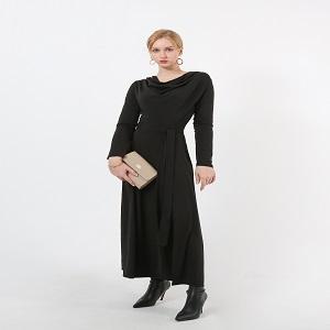 korean knit shirring long dress ( EM-016 )