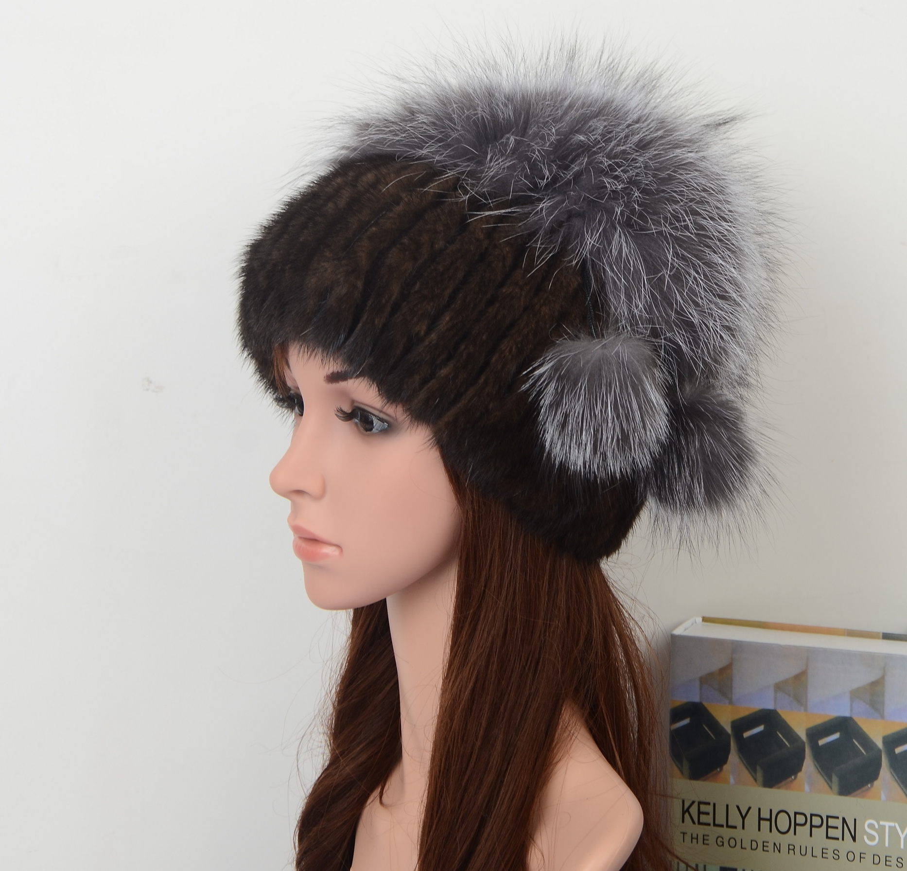 Fashion Style Dark Brown Mink Fur Hat for lady