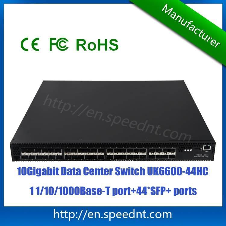 10Gigabit Data Center Switch UK6600-44HC with 44 10GE SFP+ ports 1 10/100/1000Base-T port