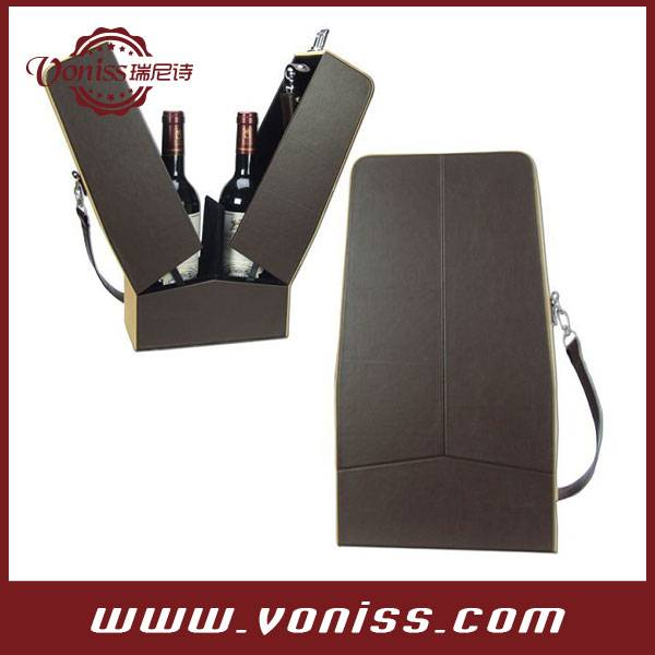 Creative Unparalleled Flower Shaped Wine Bottle Carrier Leather Wine Holder Elegant 2 Bottle Wine Gi